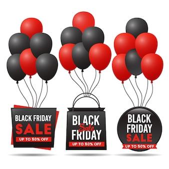 Bannière de vente vendredi noir avec jeu de ballon