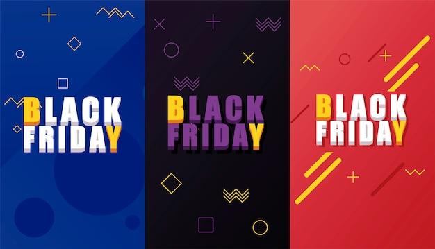 Bannière de vente vendredi noir avec lettrage isométrique et fond de couleurs