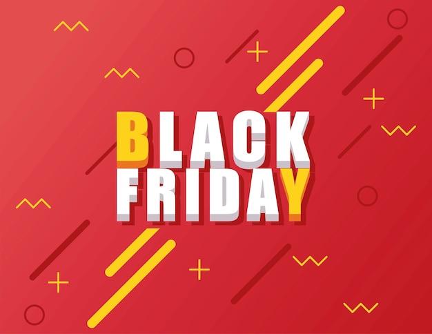 Bannière de vente vendredi noir avec lettrage isométrique sur fond rouge