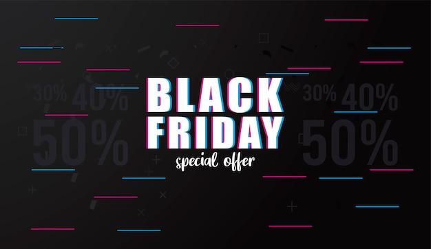 Bannière de vente vendredi noir avec lettrage et lignes de couleurs