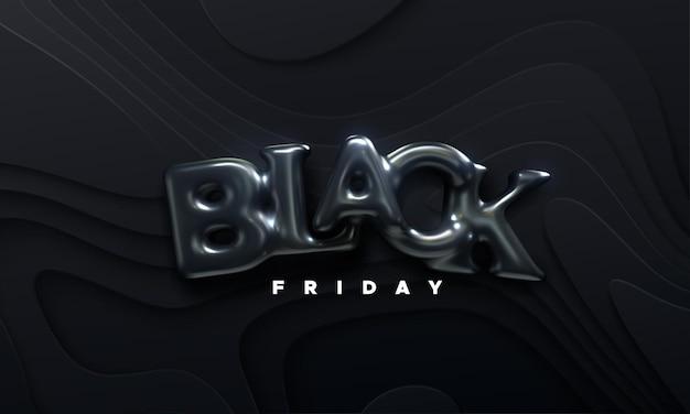 Bannière de vente vendredi noir avec des lettres de ballon en caoutchouc noir signe sur fond de papier ondulé