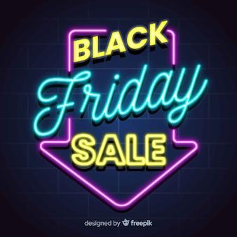 Bannière de vente vendredi noir néon