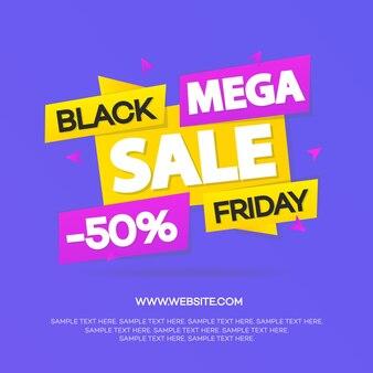 Bannière de vente vendredi noir pour votre promotion isolée sur fond violet. super vente et remise.