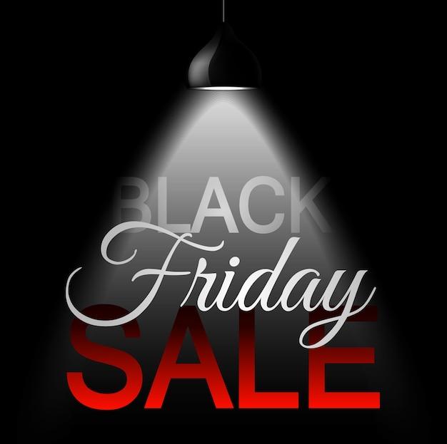 Bannière de vente de vendredi noir avec des projecteurs