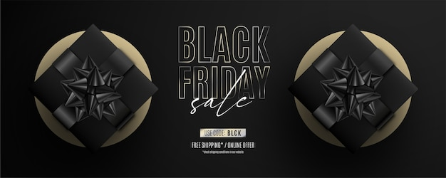 Bannière de vente vendredi noir réaliste avec des cadeaux noirs