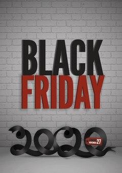 Bannière de vente vendredi noir. ruban noir 2020 avec texte pour bannière web, histoires, dépliants et affiches promotionnelles