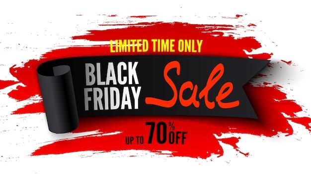 Bannière de vente vendredi noir avec ruban noir et coups de pinceau rouge