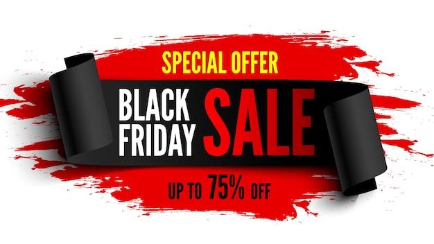 Bannière de vente vendredi noir avec ruban noir et coups de pinceau rouges. illustration vectorielle.