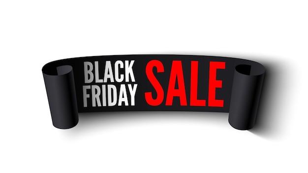 Bannière de vente vendredi noir. ruban noir sur fond blanc.