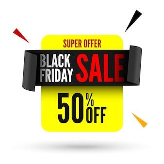 Bannière de vente vendredi noir avec ruban noir.