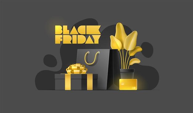 Bannière de vente vendredi noir avec sac à provisions, plante, carte or, boîte-cadeau sur fond isolé.