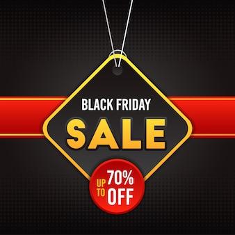 Bannière de vente vendredi noir en taille carrée avec dessin de confettis