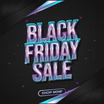 Bannière de vente vendredi noir avec texte 3d coloré dans un style cyberpunk