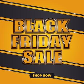 Bannière de vente vendredi noir avec texte 3d dans le concept jaune et or