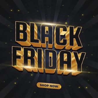 Bannière de vente vendredi noir avec texte 3d noir et or