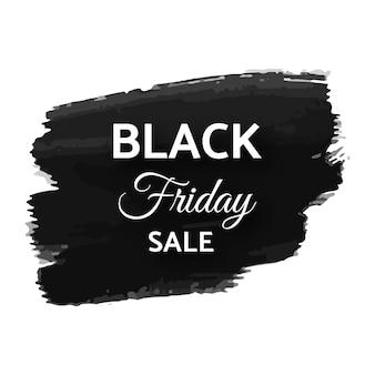 Bannière de vente vendredi noir. texte blanc sur coup de pinceau grunge sombre. illustration vectorielle