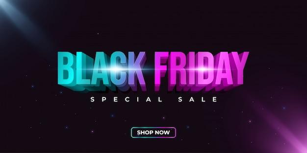 Bannière de vente vendredi noir avec texte coloré. bannière achats en ligne