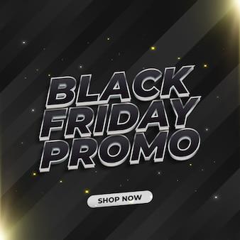 Bannière de vente vendredi noir avec texte élégant 3d