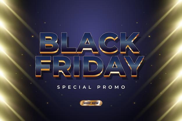 Bannière de vente vendredi noir avec texte de luxe et lumière dorée éclatante