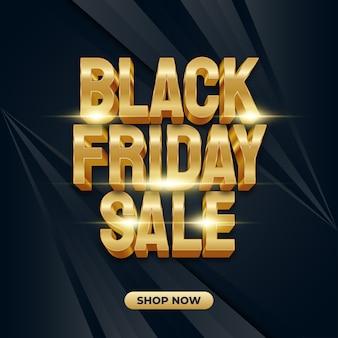 Bannière de vente vendredi noir avec texte en or 3d