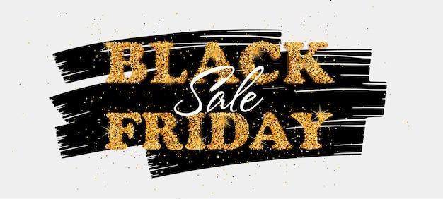 Bannière de vente vendredi noir avec texte de paillettes d'or modèle d'affiche pour les entreprises et la publicité