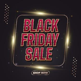 Bannière de vente vendredi noir avec texte rouge et or et cadre lumineux