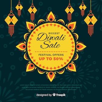Bannière vente vente diwali design plat