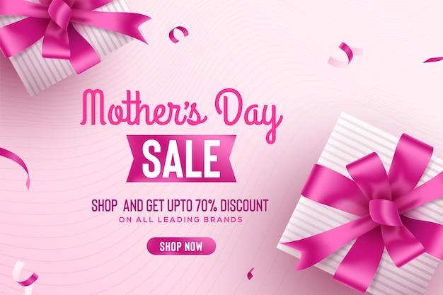 Bannière de vente de voeux bonne fête des mères avec boîte-cadeau rose et rubans