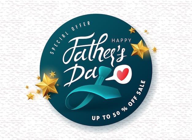 Bannière De Vente De Voeux Joyeux Fête Des Pères Calligraphie Vecteur Premium