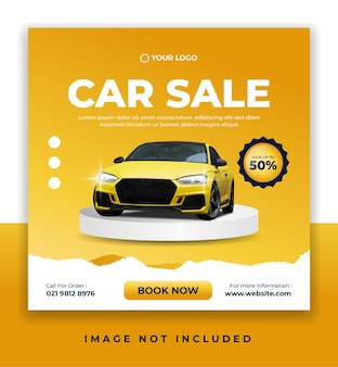 Bannière de vente de voitures ou modèle de publication de promotion sur les réseaux sociaux
