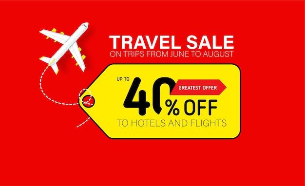 Bannière de vente de voyage avec étiquette jaune