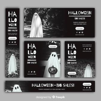 Bannière de vente web halloween avec image