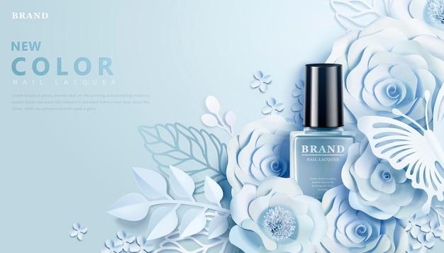 Bannière de vernis à ongles bleu clair avec des décors d'art en papier de fleurs dans un style 3d