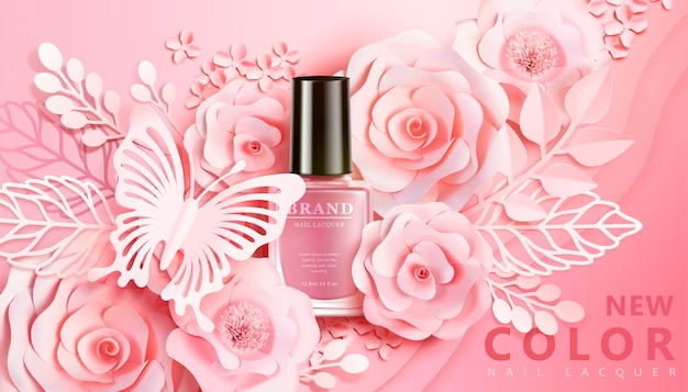Bannière de vernis à ongles rose clair avec des décors d'art en papier de fleurs dans un style 3d