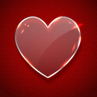 Bannière de verre en forme de coeur réaliste de vecteur isolé sur fond rouge foncé. concept de happy valentines day.