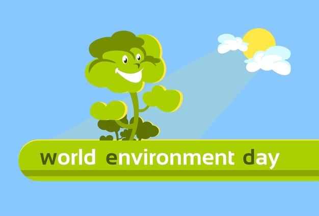 Bannière verte, arbre souriant bannière de la journée mondiale de l'environnement
