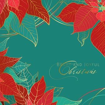 Bannière verte carrée lumineuse et joyeuse de noël. feuilles de poinsettia rouges et vertes avec ligne dorée