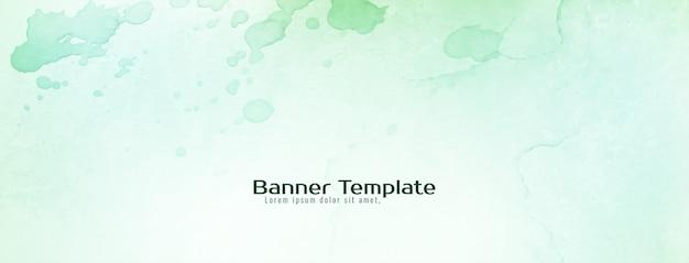 Bannière verte douce texture aquarelle abstraite