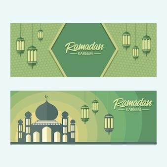 Bannière verte du ramadan