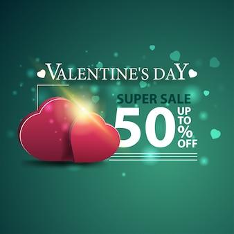 Bannière verte à prix réduit pour la saint-valentin avec deux coeurs