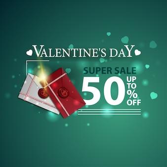 Bannière verte à prix réduit pour la saint-valentin avec lettres d'amour