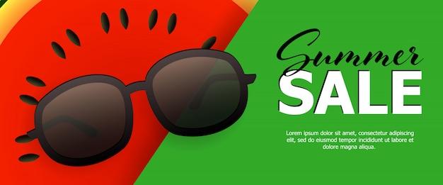 Bannière verte soldes d'été