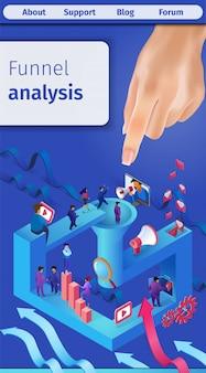 Bannière verticale de l'analyse efficace de l'entonnoir des ventes.