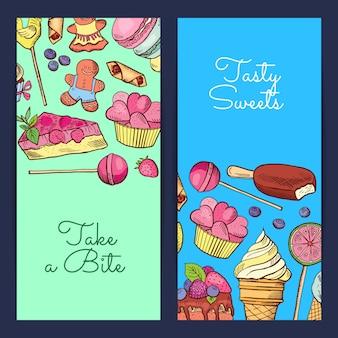 Bannière verticale de bonbons dessinés à la main