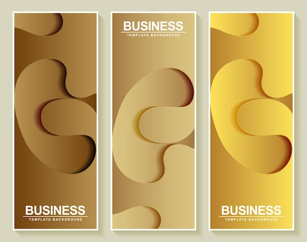 Bannière verticale dorée en papier de luxe