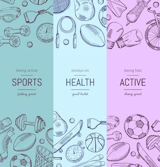 Bannière verticale d'équipement de sport dessinés à la main