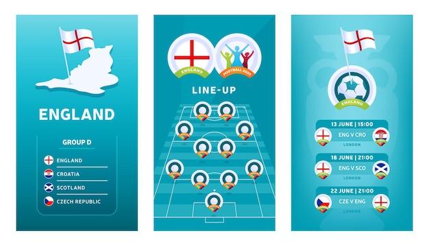 Bannière verticale de football européen 2020 pour les médias sociaux