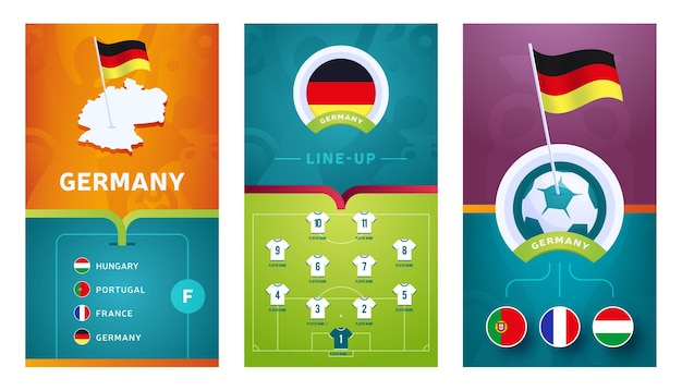 Bannière verticale de football européen pour les médias sociaux. bannière de groupe allemagne avec carte isométrique, drapeau de broche, calendrier des matchs et programmation sur le terrain de football