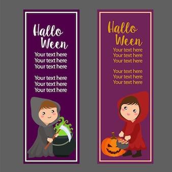 Bannière verticale d'halloween avec costume de capuche rouge
