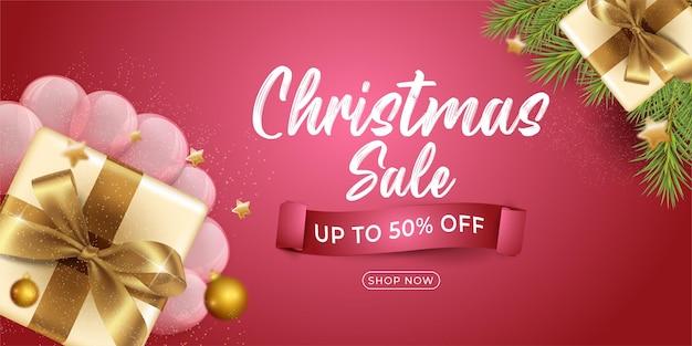 Bannière verticale de vente de noël avec modèle de conception de cadeaux